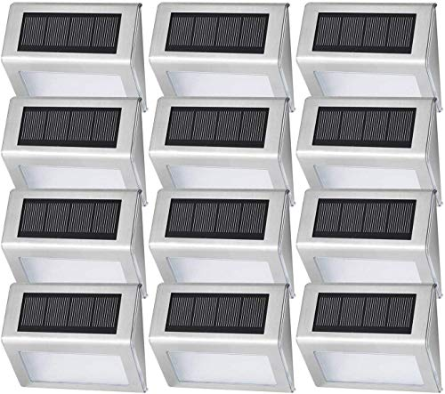 [12 Pack] Easternstar Solar Powered Deck Lights Wireless Bright 4 LED Stair Lights Waterproof Stainless Steel Outdoor Lighting for Step Driveway Fences Pathway Staircase