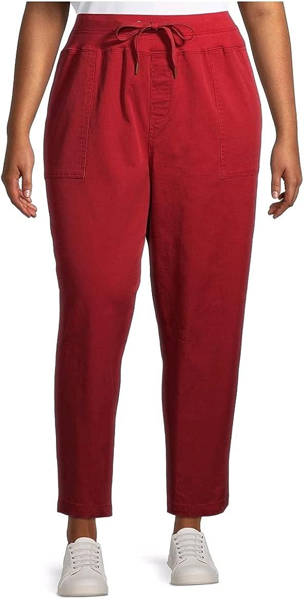 Rustic Red Plus Size Cargo Utility Capri Pants