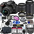 Nikon D5600 DSLR Camera with 18-55mm VR and 70-300mm Lenses + 2 Pc 64GB Memory, Tripod, Flash, and More (23pc Bundle) by DV