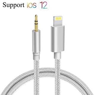 Aux Cable for Car, Bebetter Aux Cord Compatible with iPhone 6/7/8/X/Xs/Xr/iPad/iPod 3.3ft 3.5mm Male Audio Adapter for Car Home Stereo &Headphone [Nylon Braided] - Silver