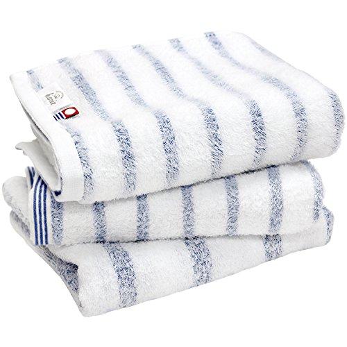 hiorie(ヒオリエ) 今治タオル 認定 フェイスタオル mist ミスト 3枚セット ブルー 日本製 ボーダー 今治ブランド 瞬間吸水 速乾 部屋干し 綿100% 柔らか ソフト imabari towel