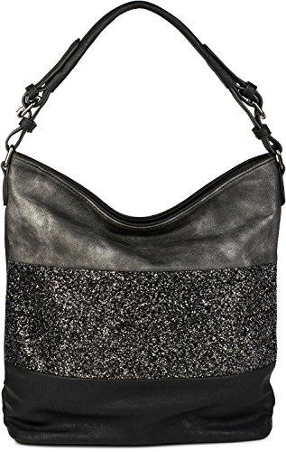 styleBREAKER edle 2-farbige Hobo Bag Handtasche mit Pailletten Streifen, Shopper, Schultertasche, Tasche, Damen 02012181, Farbe:Schwarz/Antik-Grau