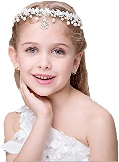Campsis White Lace Headpiece Pearl Tiara Cute Bride Hair Accessories for Women and Girls and Bridal Wedding Tiaras for Flower Girls and Bridesmaid