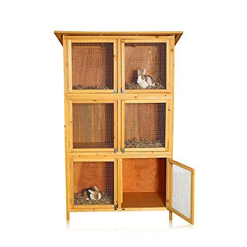 Melko® XXL Hasenstall Kleintierhaus, ca. 180 x 102 x 48 cm, aus Holz, 3 x 2 Boxen