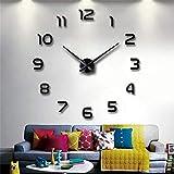 3D DIY Mirror Surface Wall Clock Large Size Wall Decorative Clocks Silent Non Ticking Movement Clock Hands (Black)