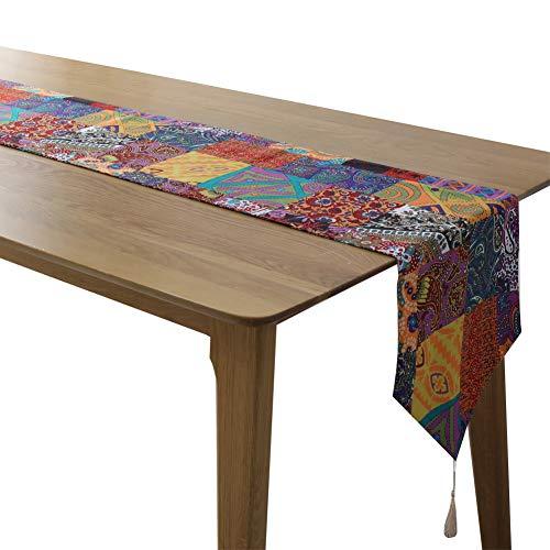 Rétro style bohème table à manger drapeaux restaurant Lin Chemin de table décoré décoration de table de mariage 30 x 180 cm 12 x 71 pouces