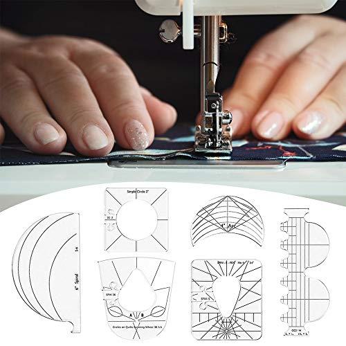 Juego de Plantillas para Acolchar - 6 Reglas de Acolchado de Acrílico para Máquina de Coser - Regla de Costura Transparente para Bricolaje, Herramienta de Patchwork