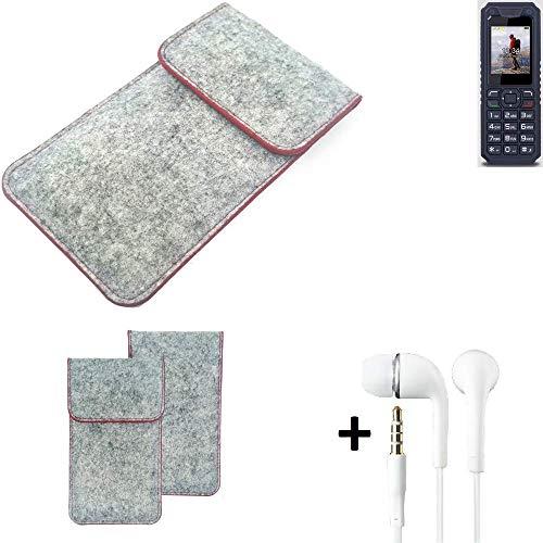 K-S-Trade® Handy Schutz Hülle Für Bea-fon AL250 Schutzhülle Handyhülle Filztasche Pouch Tasche Hülle Sleeve Filzhülle Hellgrau Roter Rand + Kopfhörer