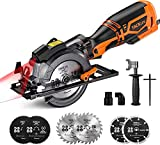 "TACKLIFE Circular Saw, 5.8A 3500RPM, Metal Handle, 6 Blades (4-3/4' & 4-1/2""), Cutting Depth 90° (1-11/16''), 45° (1-3/8''), laser Guide Mini Circular Saw for Wood, Soft Metal, Plastic- TCS115A"
