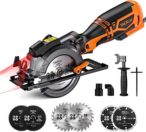 """Mini Circular Saw, 5.8A, Max 7000RPM, Metal Handle With 6 Blades (4-3/4"""" & 4-1/2""""), Cutting Depth: 90° (1-11/16''), 45° (1-3/8''), laser, for Wood, Soft Metal, Plastic"""