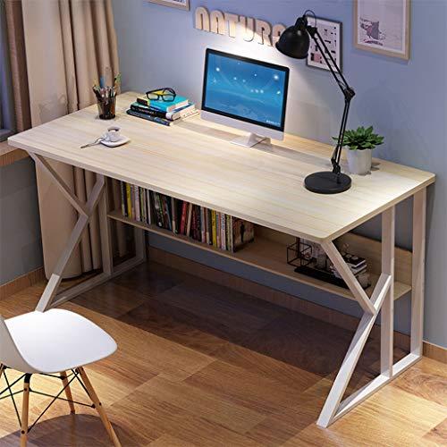 Simpleness Home Office Desk Student Writing Desktop Desk Modern Economic Computer Desk Writing Desk with Storage Bookshelf New Business Reversible Study Table Desk Easy Assemble (White)