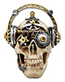 Ebros Gift Steampunk Cyborg R&B Funk Music Fanatic with Headphone Beats Cans Set Skull Decorative Figurine 5.75' L Victorian Sci Fi Skulls Skeletons Ossuary Macabre Decor