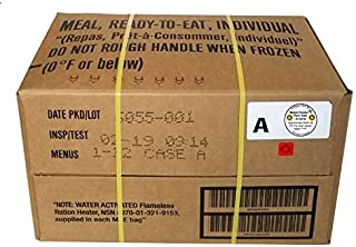 MRE 2019 Inspection Date Case, 12 Meals with 2019 Inspection Date, 2016 Pack Date. Military Surplus Meal Ready to Eat. (A-...
