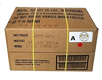 MRE 2019 Inspection Date Case 12 Meals with 2019 Inspection Date 2016 Pack Date Military Surplus Meal Ready to Eat  A-Case