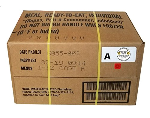 Western Frontier MRE 2019 Inspection Date Case, 12 Meals with 2019 Inspection Date, 2016 Pack Date. Military Surplus Meal Ready to Eat. (Random Case)