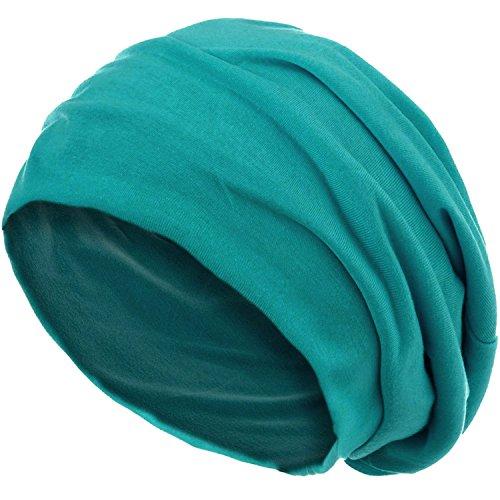style3 Slouch Beanie aus atmungsaktivem, feinem und leichten Jersey Unisex Mütze Haube Bini Einheitsgröße, Farbe:Petrol