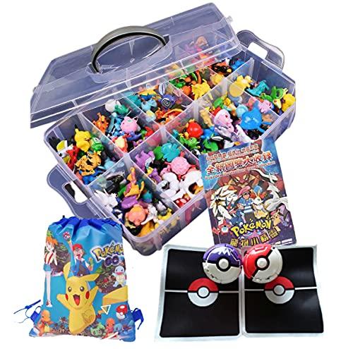 Pokemon Battle Set,144 Pokemon Figures+ 1 Storage Box+ 1 Illustrated Books+ 2 Burst Pokemon Balls+ 2 Battle Mats+1 Storage Bag (Coolest Kids In Town Set)