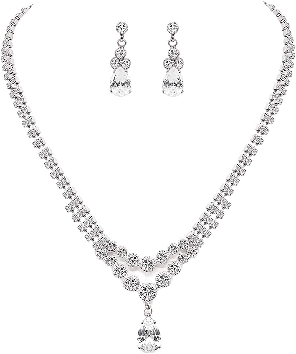 UDORA Crystal Teardrop Necklace Earrings Jewelry Set with Bracelet Party Prom Wedding