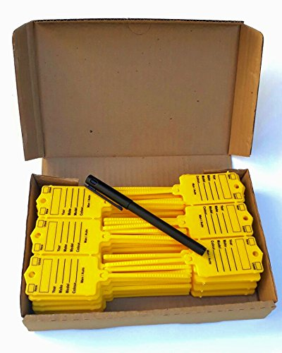 Car Key Tags for Dealerships - Yellow self Locking Auto Car Key Tags Made of Waterproof Plastic   Box of 200 Auto Tags   NO Folding, NO Key Rings, NO Laminated Key Tags Necessary Pen Included