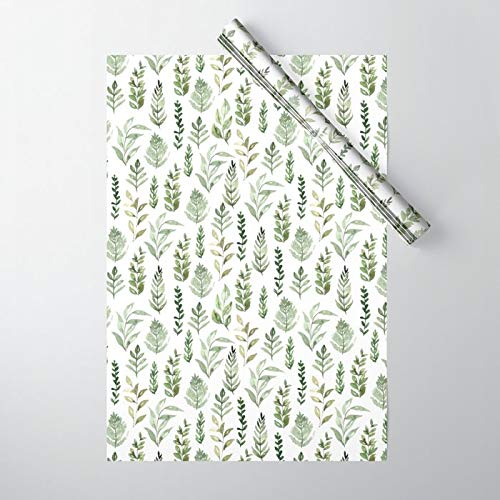 Society6 Watercolor Leaves by Inna Moreva on Gift Wrapping Paper - Pack of 5