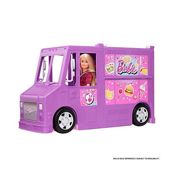 Barbie Food truck de juguete , muñeca y vehículo restaurant con 25 accesorios (Mattel GMW07)