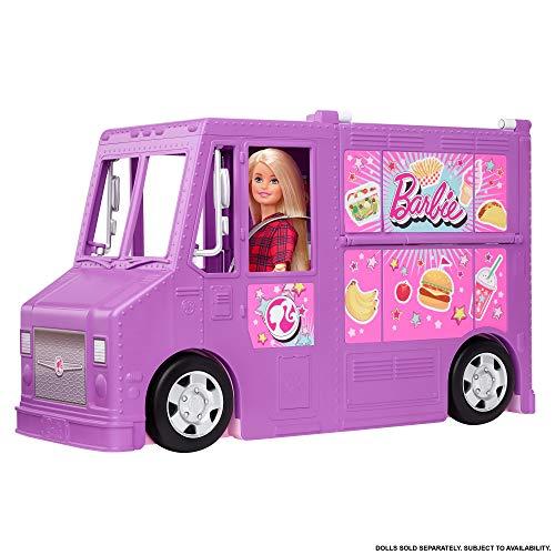 Barbie Mobilier Food Truck pour poupées, véhicule violet tra