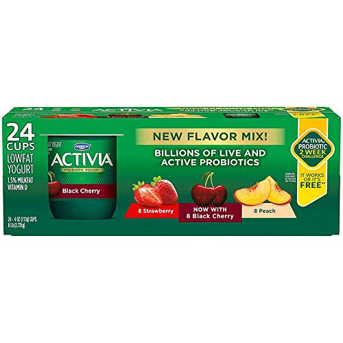 Activia Strawberry Black Cherry Peach Yogurt, 4 Ounce -- 24 per case.
