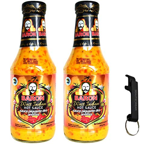 Baron West Indian Hot Sauce 14oz Pack of 2 with Keychain Bottle Opener...