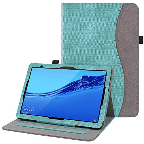 Fintie Hülle für Huawei MediaPad T5 10 - Multi-Winkel Flip Betrachtung Kunstleder Schutzhülle mit Dokumentschlitze für Huawei MediaPad T5 10 10.1 Zoll 2018 Tablet PC, Jeansoptik Türkis