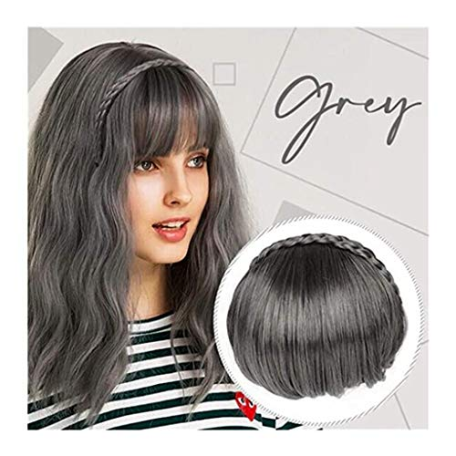 Iusun Hair Bangs Hair Extension Fringe Wig Instant Braid Hairband Synthetic Bangs Heat Resistant Bangs for Lady (F)