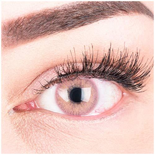 """Sehr stark deckende und natürliche pinke Kontaktlinsen SILIKON COMFORT NEUHEIT farbig """"Jasmine Pink"""" + Behälter von GLAMLENS - 1 Paar (2 Stück) - DIA 14.00 - ohne Stärke 0.00 Dioptrien"""