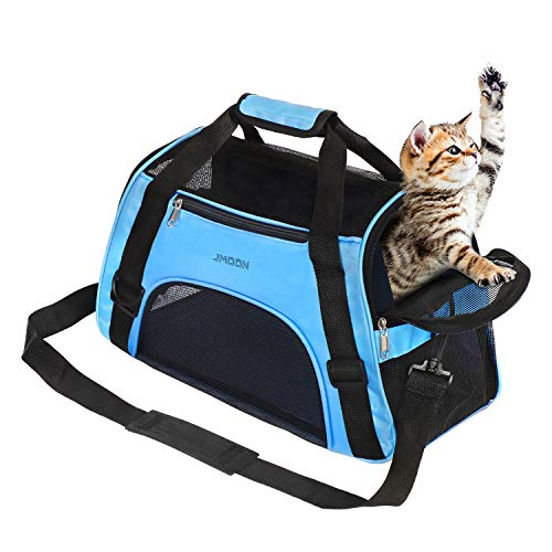 JMOON Cat Carrier Soft-Sided Airline Approved Pet Carrier Bag,Pet Travel Carrier for Cats,Dogs Puppy Comfort Portable…