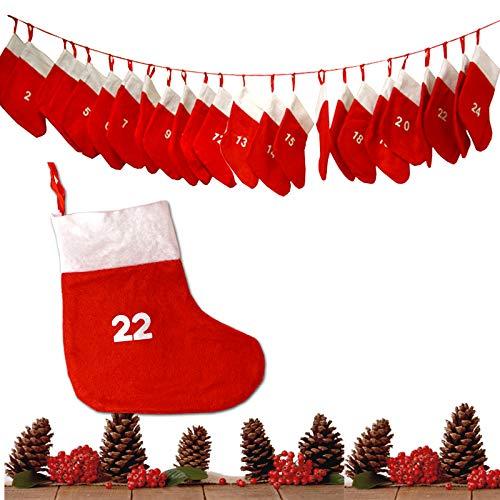 JEMIDI Adventskalender Kette zum befüllen Stoff XXL Säckchen Kinder Weihnachtskalender Nikolausstiefel