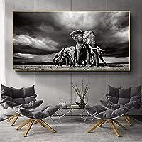"""印刷されたキャンバス黒と白の象の動物のポスター壁画家族の寝室子供部屋の壁の装飾アート70x140cm / 27.6 """"x55.1""""フレームなし"""
