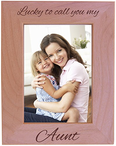 CustomGiftsNow Lucky to Call You My Aunt - Wood Picture Frame - Fits 5x7 Inch Picture (Vertical)