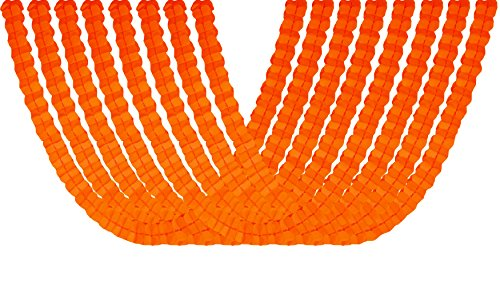 Four Leaf Tissue Paper Hanging Flower Garland for Party Supplies, Decorations and Streamers Pack of 8 (Orange)