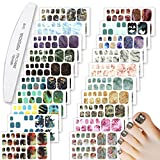WOKOTO 440 Pieces Toenail Polish Strips Stickers, 20 Sheets Marbled and Peacock Design Nail Art Sticker Decals Self-Adhesive Gradient Full Wrap for Women Nail Manicure with Nail File