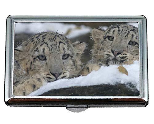 Zigarettenetui Box-Taschenhalter für 14 Zigaretten, Snow Leopard Zoo Leopard große Katze Kreditkarte ID Case/Holder
