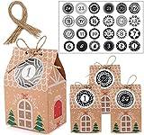 MEIXI Calendario de Adviento, 24 Cajas de Regalo Navidad, 24 Pegatinas Digitales Bolsa para Calendario de Adviento, DIY Bolsa de Regalo Navidad, Navidad Fiesta Decoración Boda, Cumpleaños