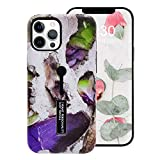 Omio Compatible with iPhone 12 Pro Marble Case Stone Pattern Cover Finger Ring Loop Strap Grip Holder Kickstand Stand Ultra Thin Slim Fit Dustproof Protective Shockproof Dual Layer Case