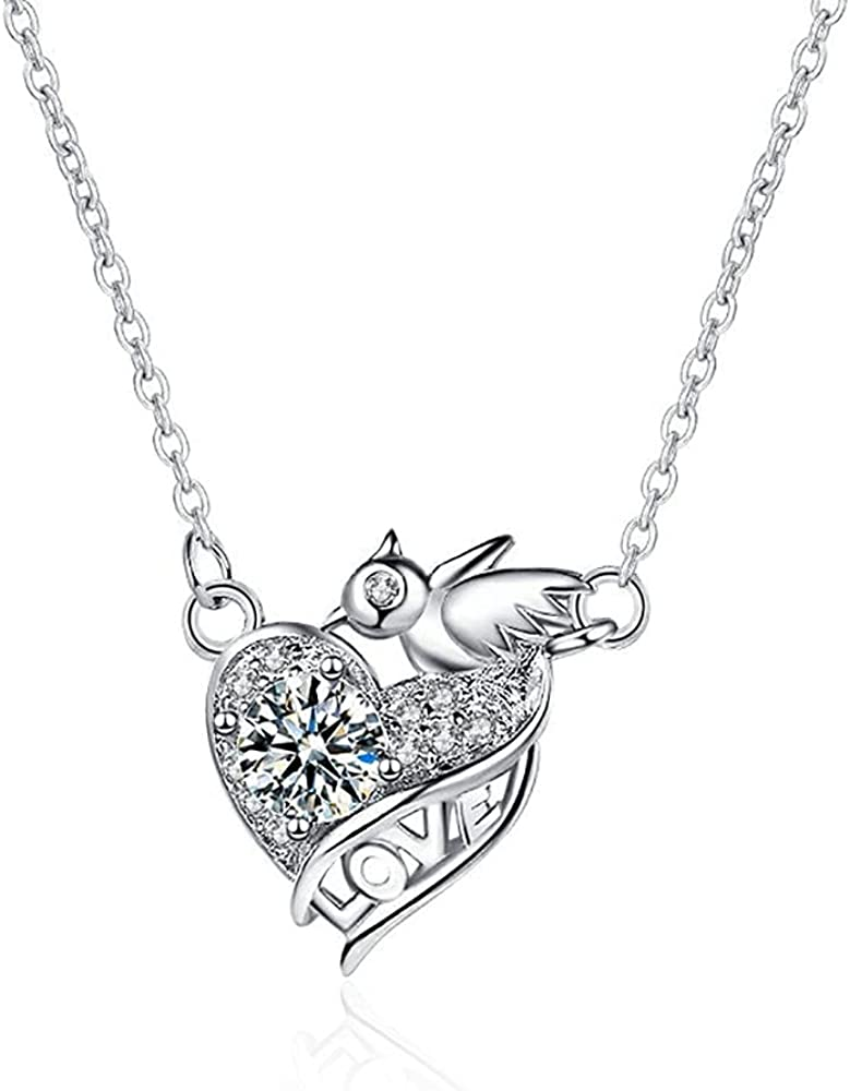 Hodea Love Heart Necklace 14K Solid White Gold Plated Pendant Birthstone Necklaces Mother's Day Jewelry Gifts for Women Girls Mom Women Birthday, Mother's Day, Anniversary, Valentine's Day