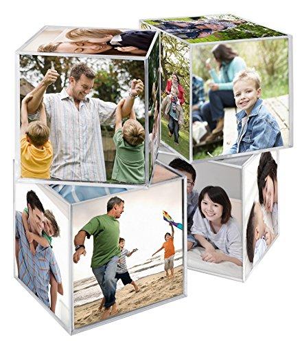 MCS 65750 - cubeta de fotos de plástico transparente de 6 caras de 3,25 x 3,25 pulgadas, 4 unidades, transparente