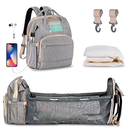 Diaper Bag Backpack with Extendable Folding Crib,HOMITY Baby Bag for Girls Boys with Changing Station,USB Charge Port,Large Capacity,Waterproof