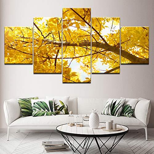 YTDZ 5Tafeln Wand-Kunst Bild Gelbe Blattpflanze Ginkgo 150x80cm Drucke auf Leinwand Öl Bilder Für zu Hause Moderne Dekoration Druckdekor