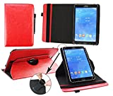 Emartbuy® Point of View Mobii Tab P980 9 Zoll Tablet Universal (9-10 Zoll) Rot Premium PU Leder360GradrotierendeStandFolioGeldbörseTascheHülle + Schwarz Eingabestift