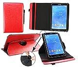 Emartbuy® Blaupunkt Polaris 808 Tablet PC 8 Zoll Universal (7-8 Zoll) Rot Premium PU Leder 360GradrotierendeStandFolioGeldbörseTascheHülle + Rot Eingabestift