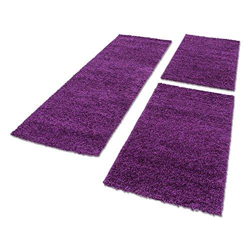 HomebyHome Bettumrandung Teppich Shaggy Schläfzimmer Läuferset Hochflor Langflor 3 TLG, Farbe:Lila, Bettset:2 mal 60x110 + 1 mal 80x150