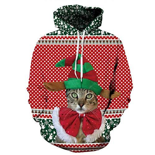 U LOOK UGLY TODAY Unisex Hoodie 3D Druck Kapuzenpullover Weihnachtpullover Kapuzenpulli Langarm Bunte Sweatshirt Rundhals Kapuzensweatshirt für Damen und Herren