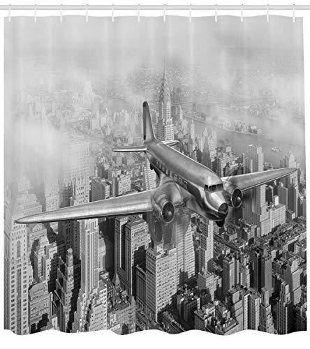 ajhgfjgdhkmdg Avión Volador Gris en Nueva York Decoración antibacteriana Impermeable para Cortinas de baño
