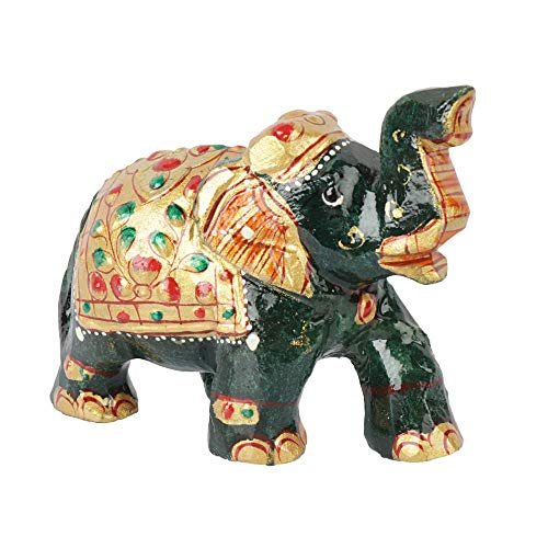 GEMHUB Bellamente hecha a mano 878.00 ct verde oscuro elefante figura para decoración del hogar idea